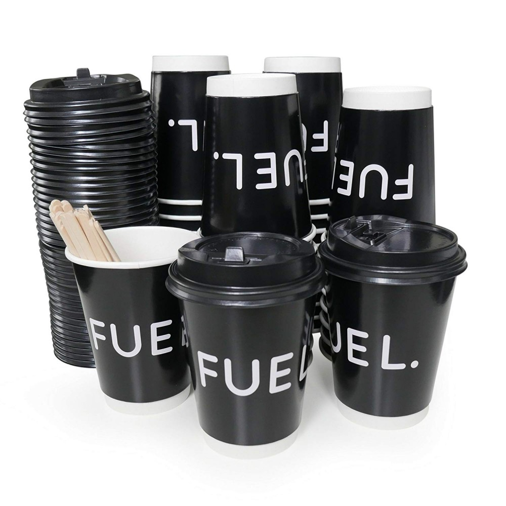 FUEL Paper Cup Pack - Includes Cups Lids & Stirrers x 40